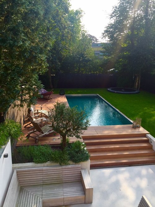 terraced garden with pool