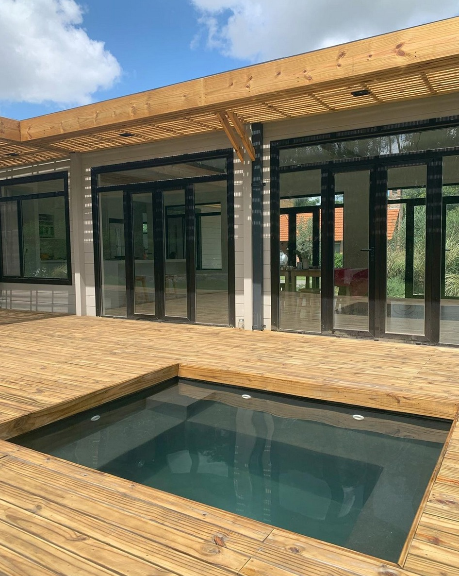 plunge pool with timber decking