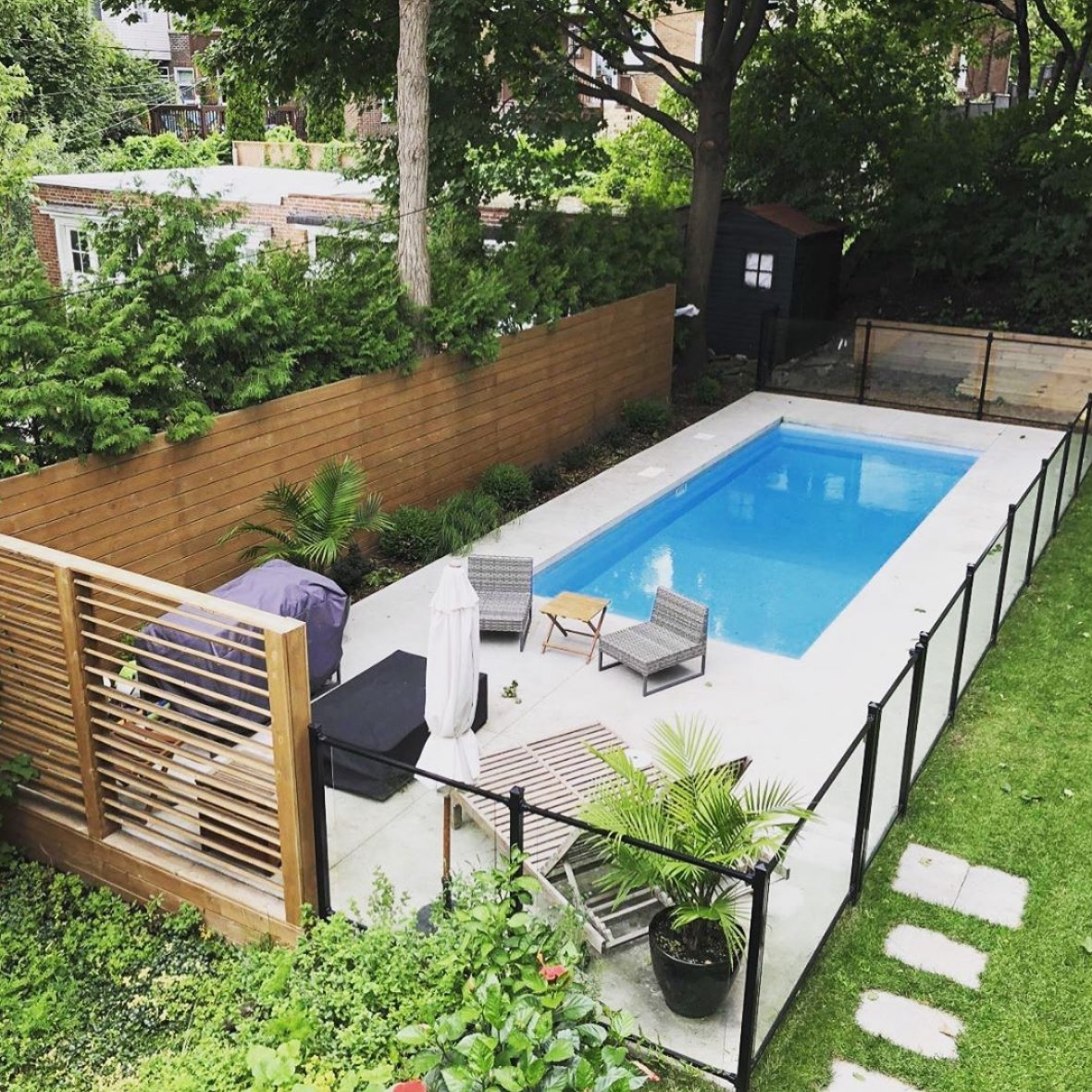 Small pool with a bbq area