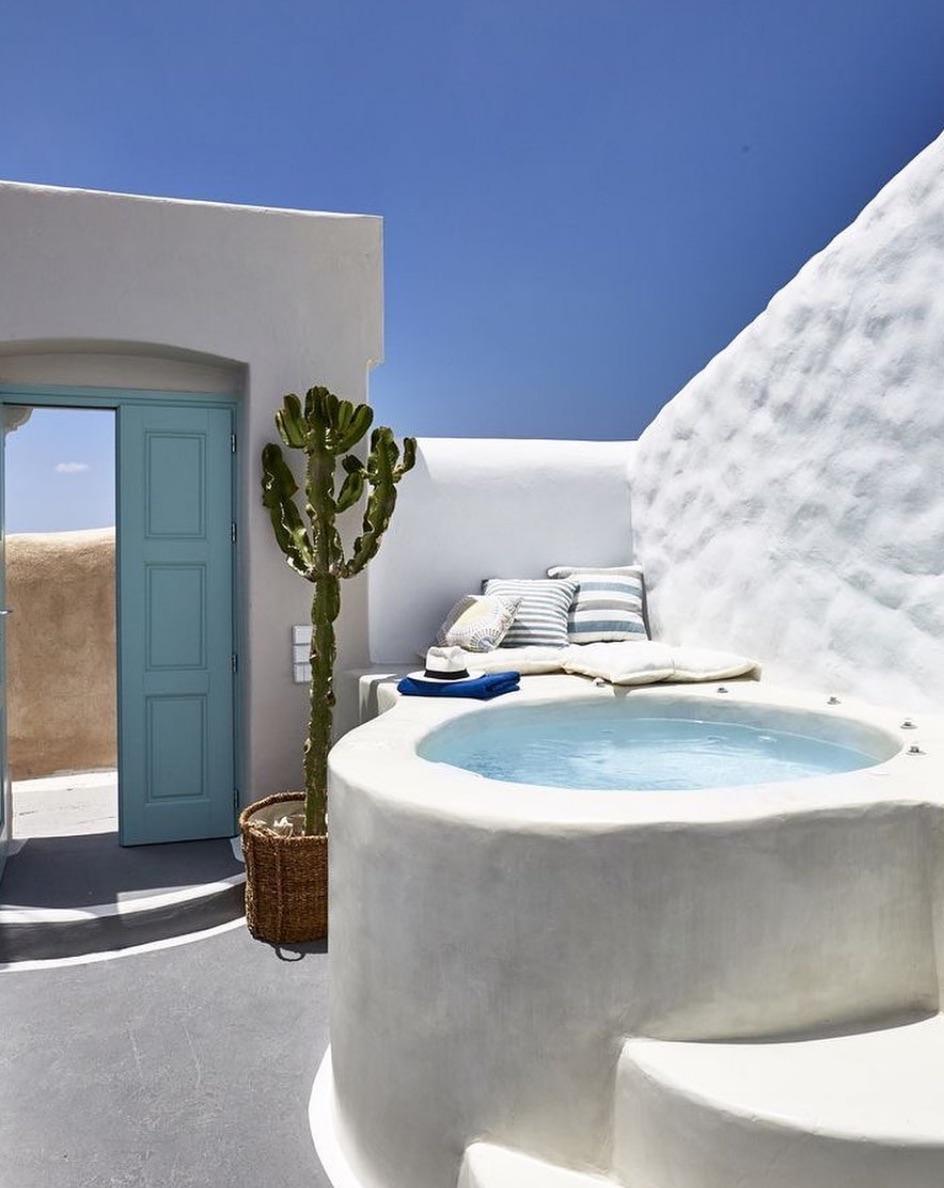 Small pool in Santorini Greece