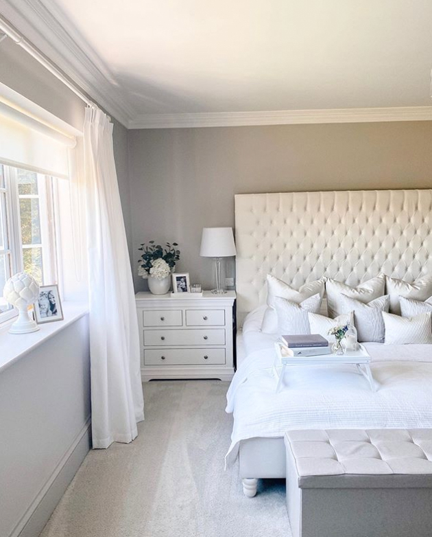 Grey bedroom with white furniture set