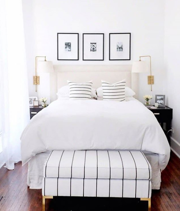 Bedroom ottoman storage idea