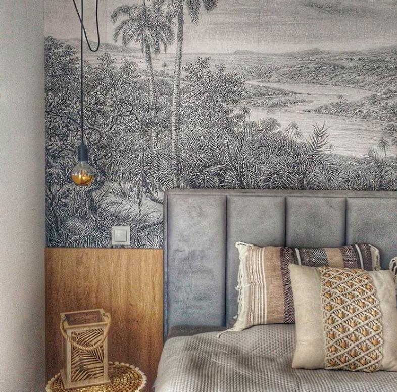 Grey bedroom scenic wallpaper