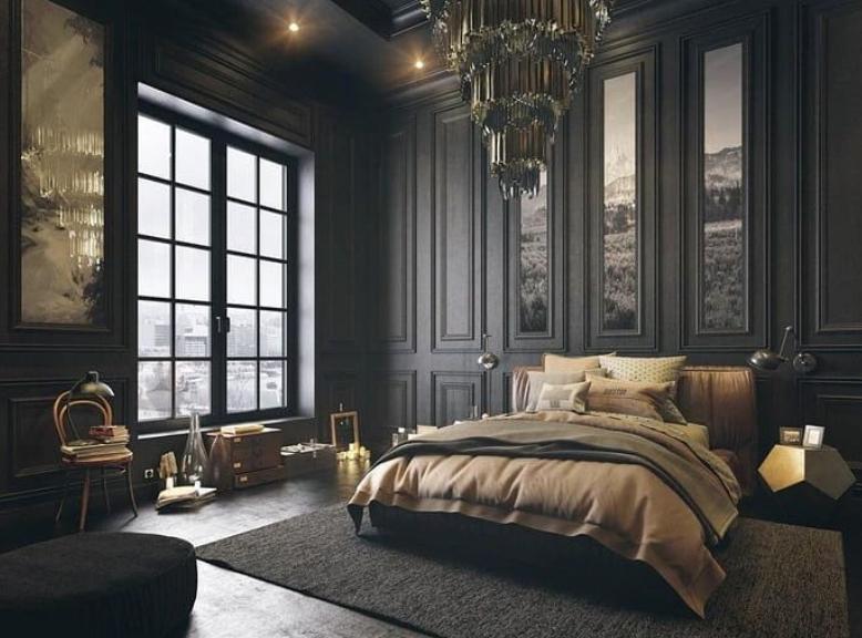 Formal grey bedroom