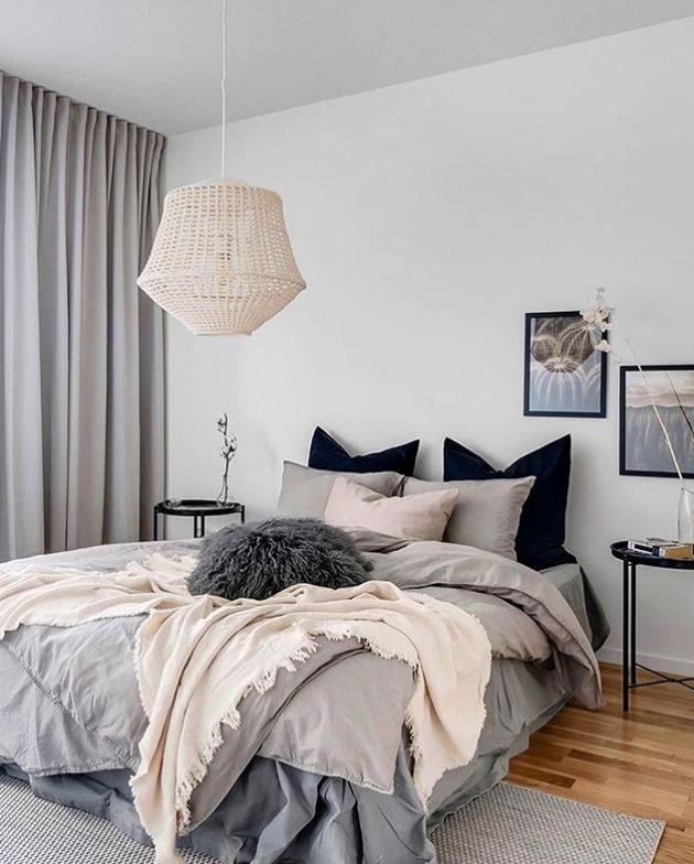 Modern boho grey bedroom