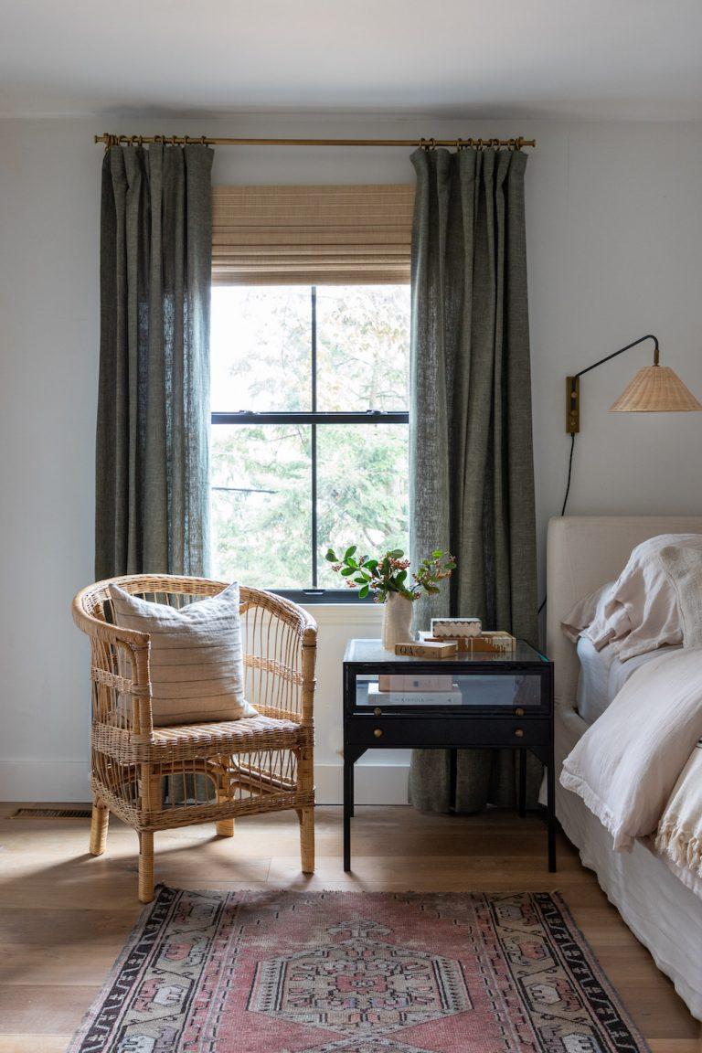 Bohemian green bedroom curtains