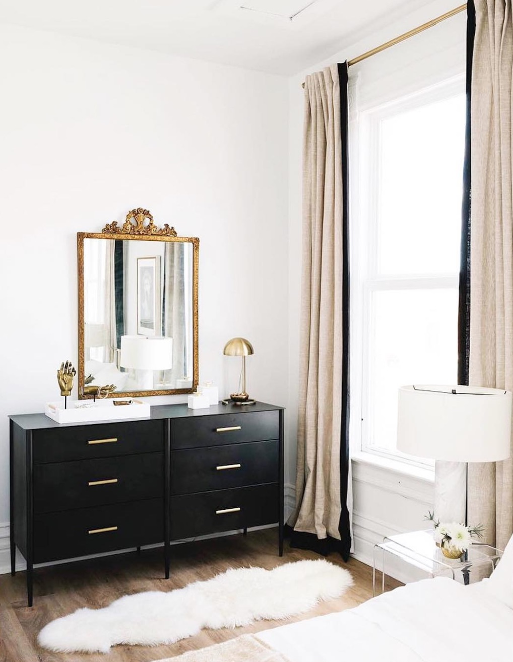 French inspired black and white bedroom