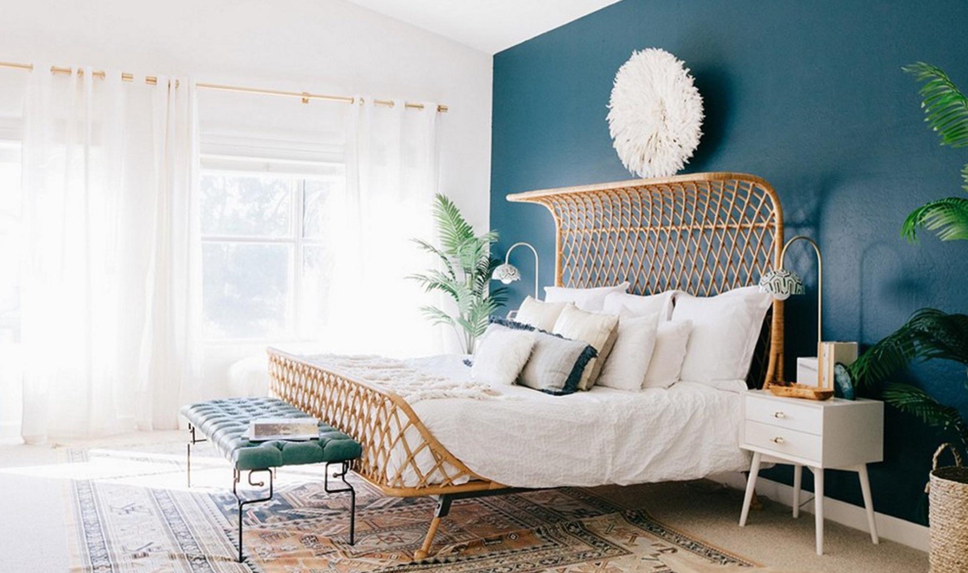 Boho feature bedroom wall