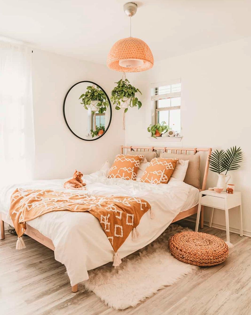 Boho peach bedroom
