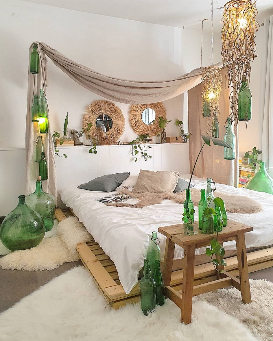 green bedroom styling