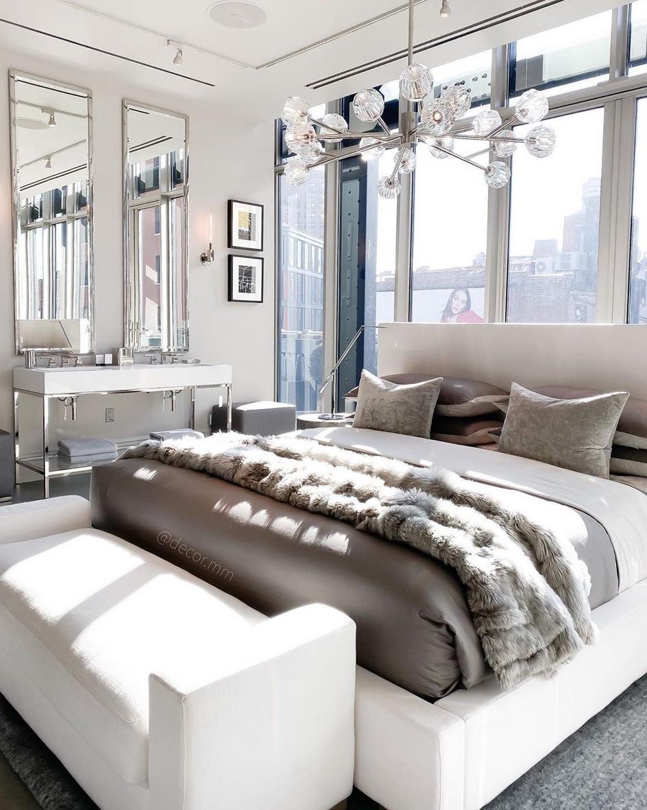 modern city white bedroom idea