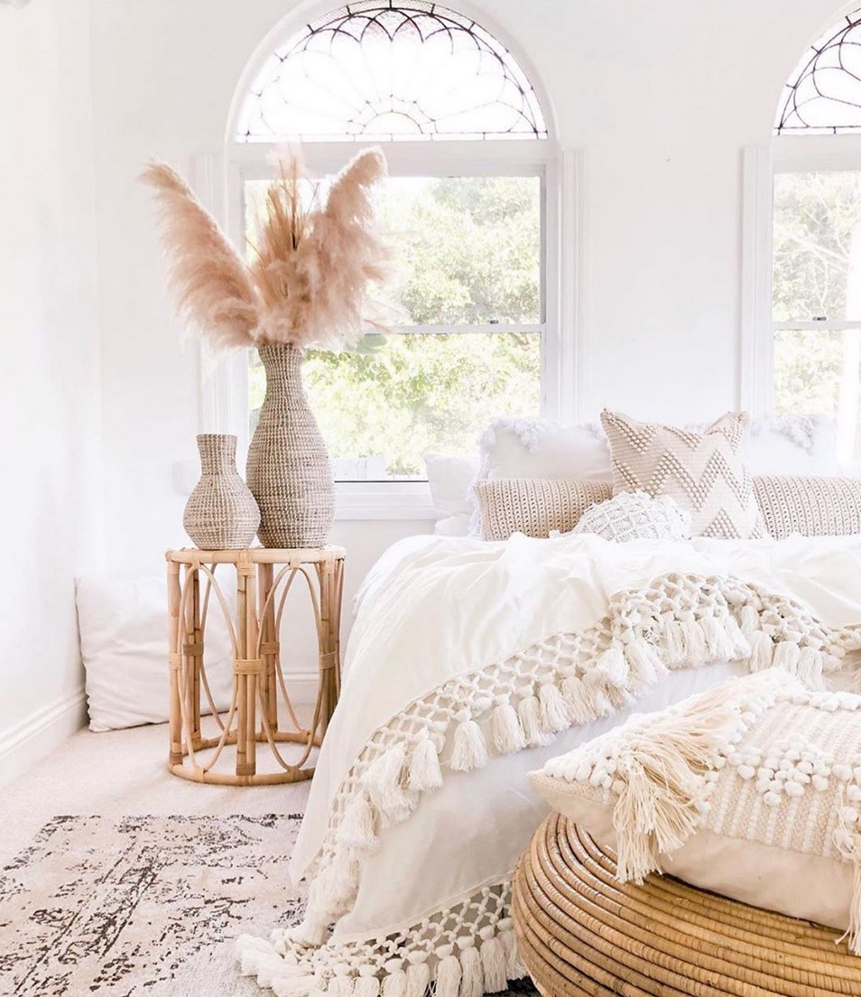 Styled boho bedroom and tassel throw