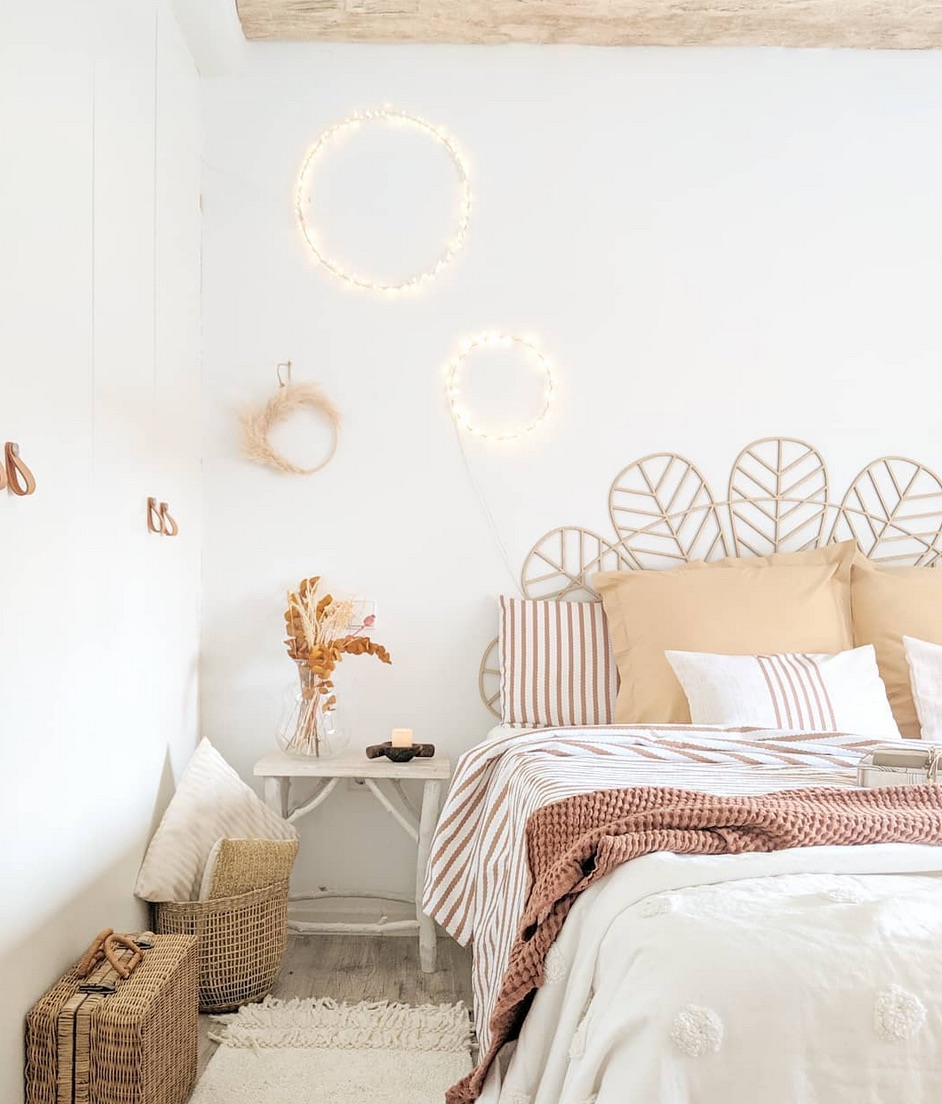 pattern sheets and rustic white bedroom style