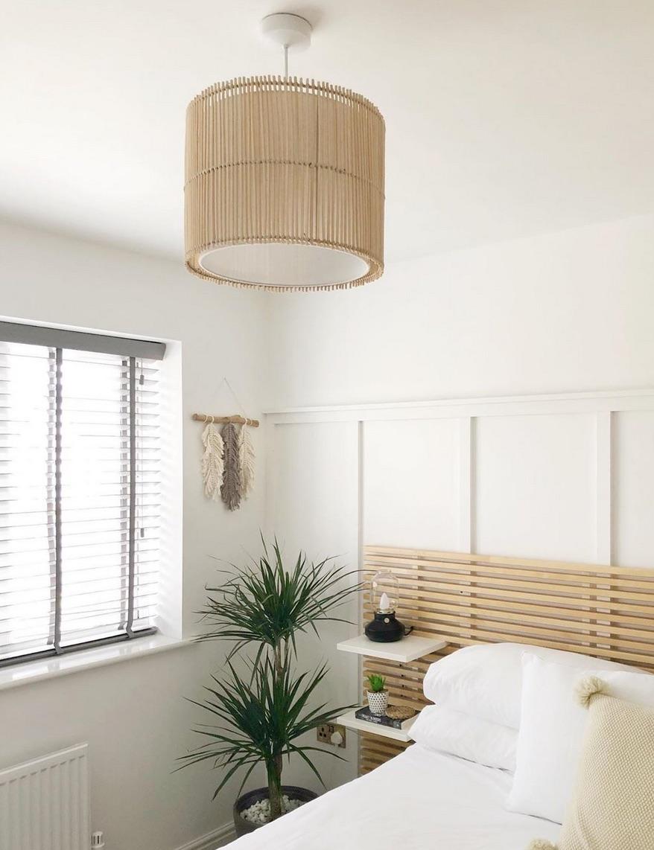 rattan pendant light in bedroom