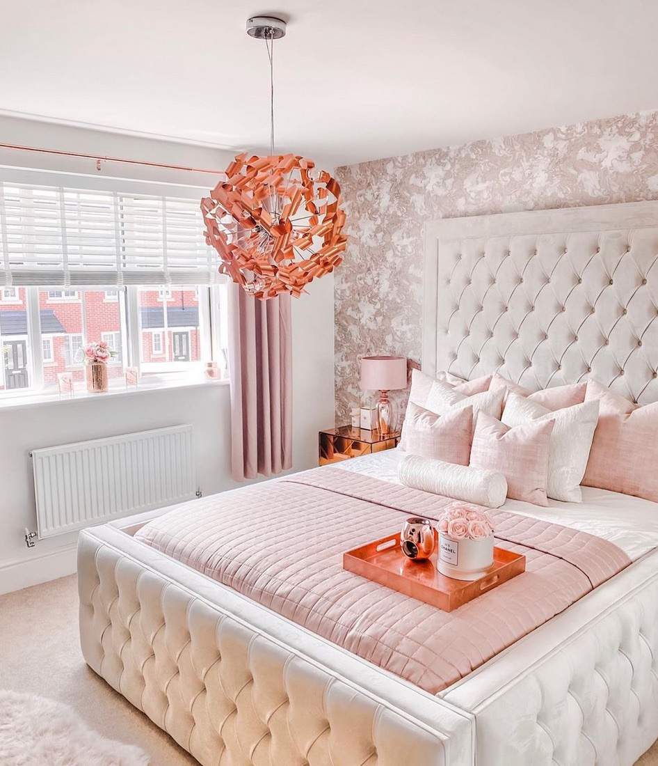 Rose gold and white bedroom