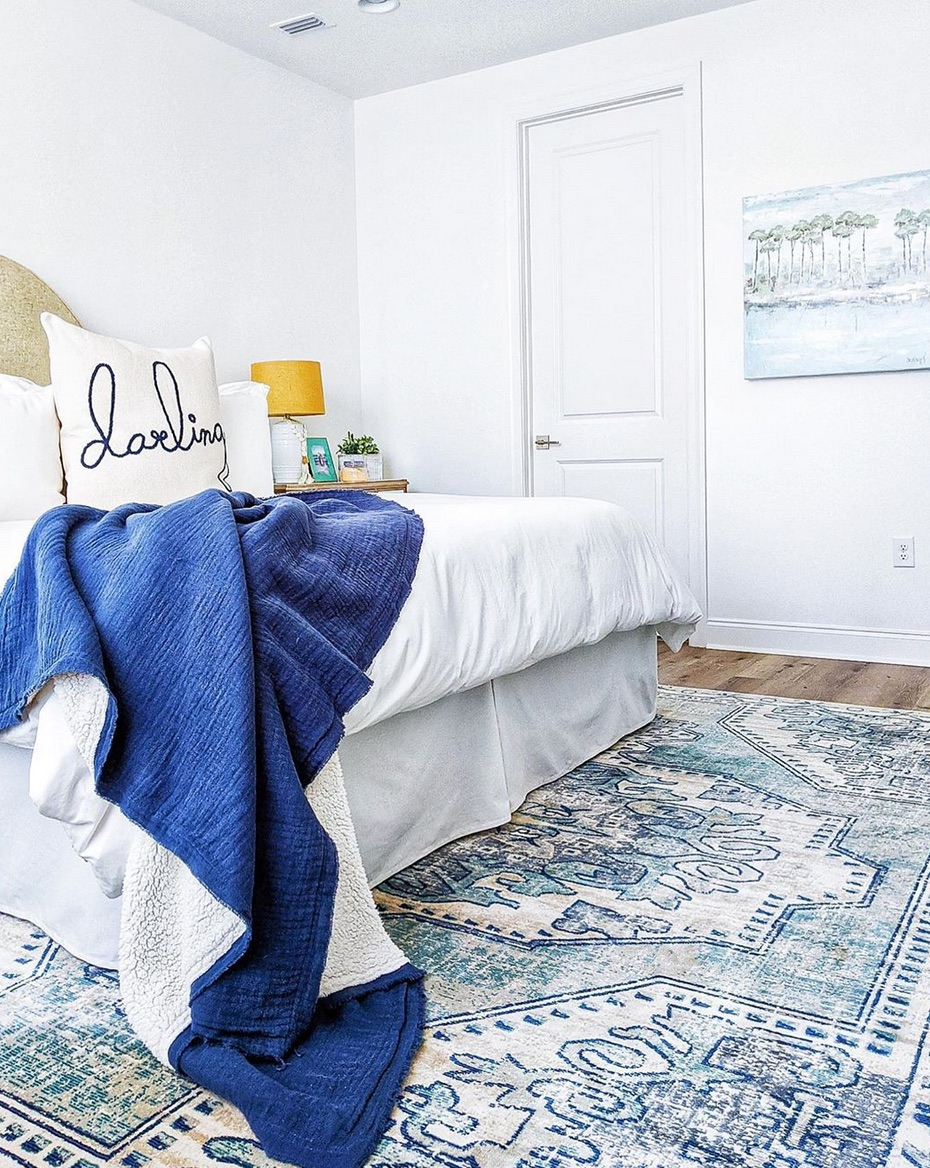 Blue and white rug in bedroom