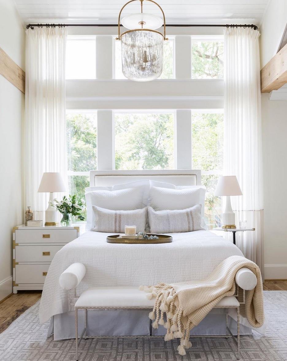 Floor to ceiling sheer bedroom curtains