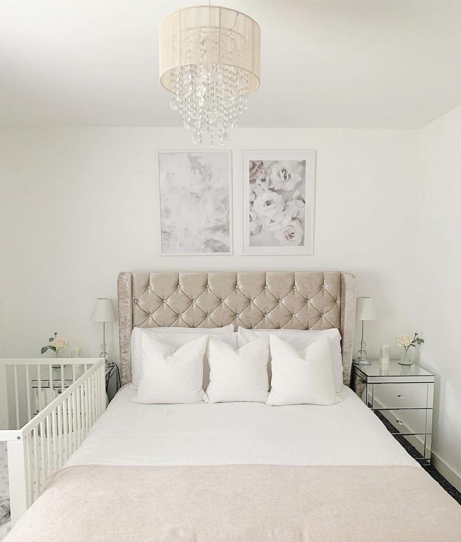 White velvet bedhead