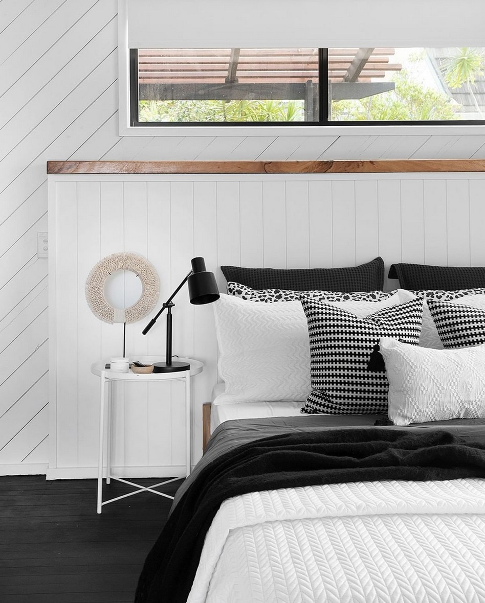 White timber panelling in bedroom