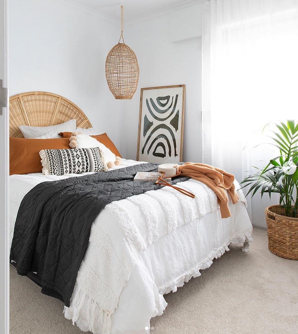 Black white  boho bedroom