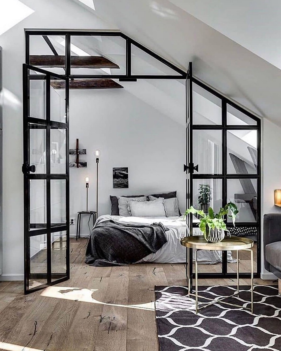 Bedroom with a window wall