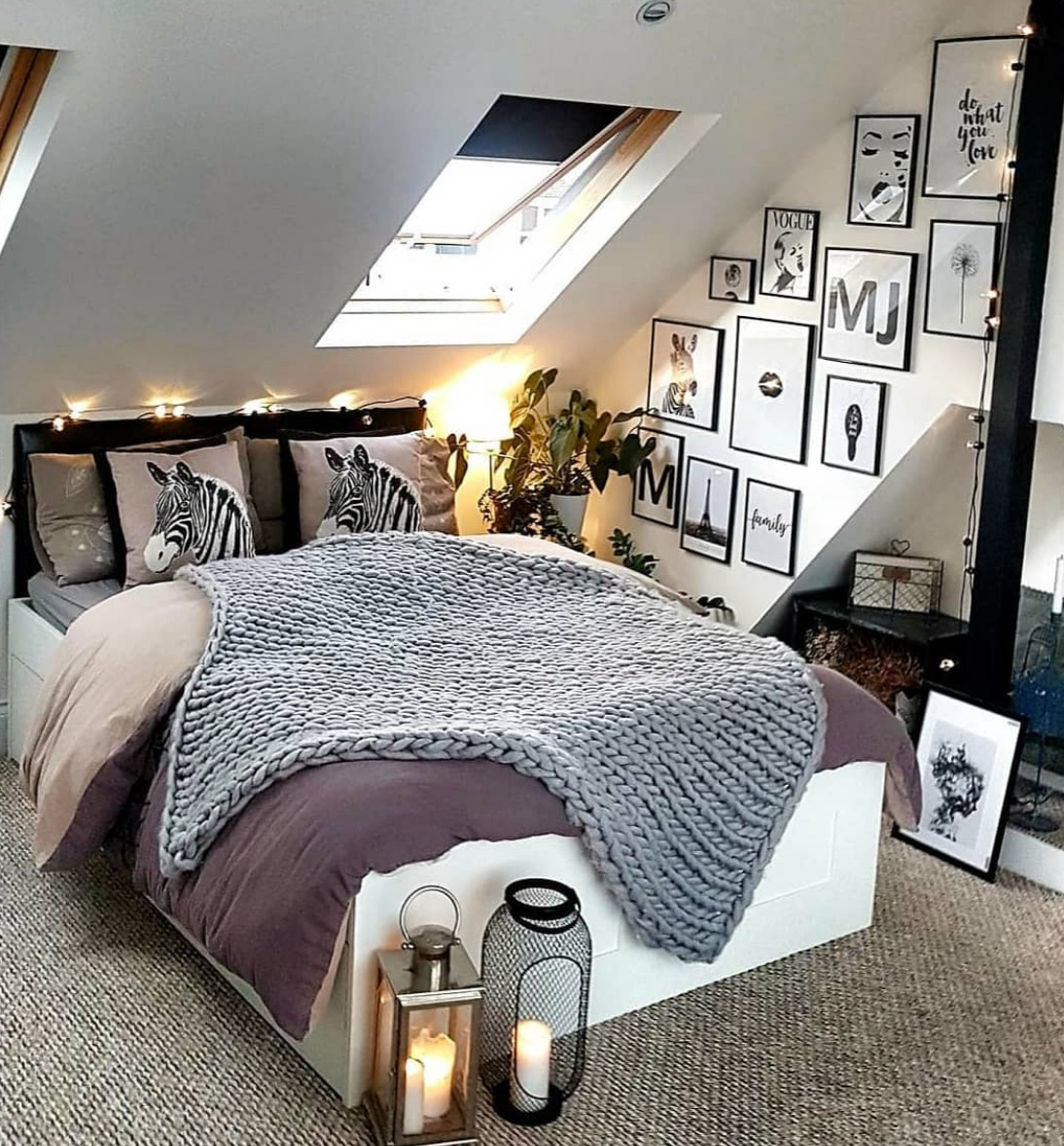 Loft-style black and white bedroom