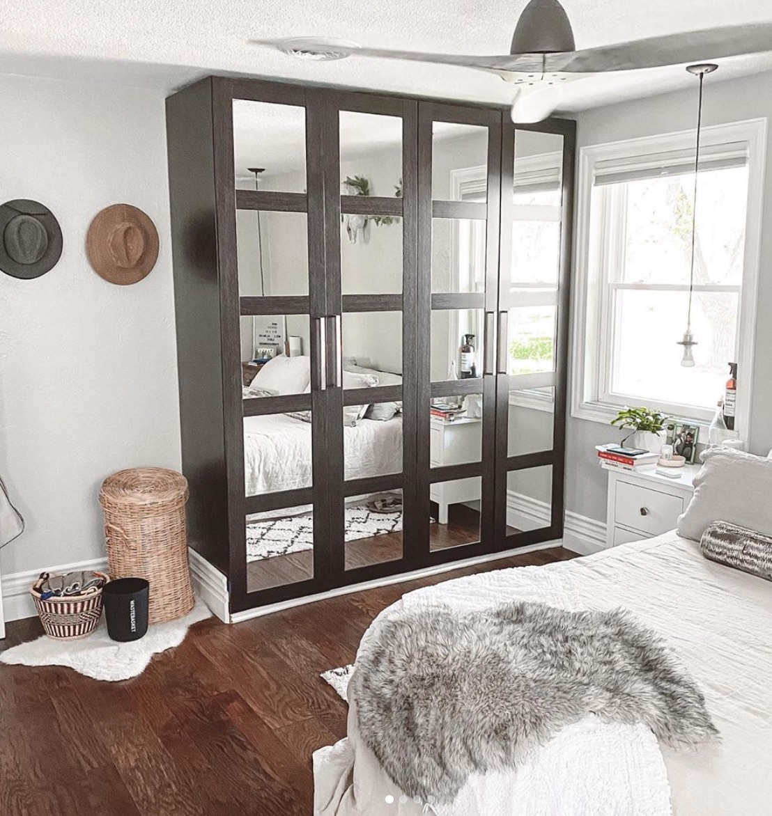 Black and white IKEA furniture for bedroom
