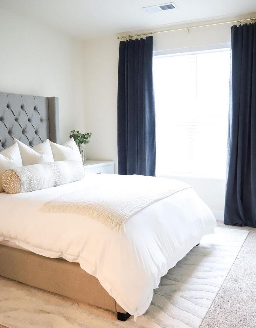 Dark navy bedroom curtains
