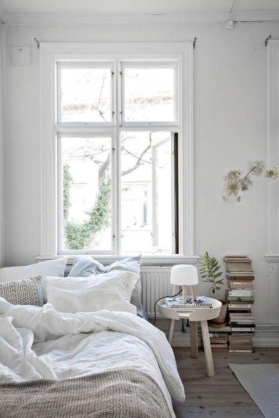 all white farmhouse bedroom