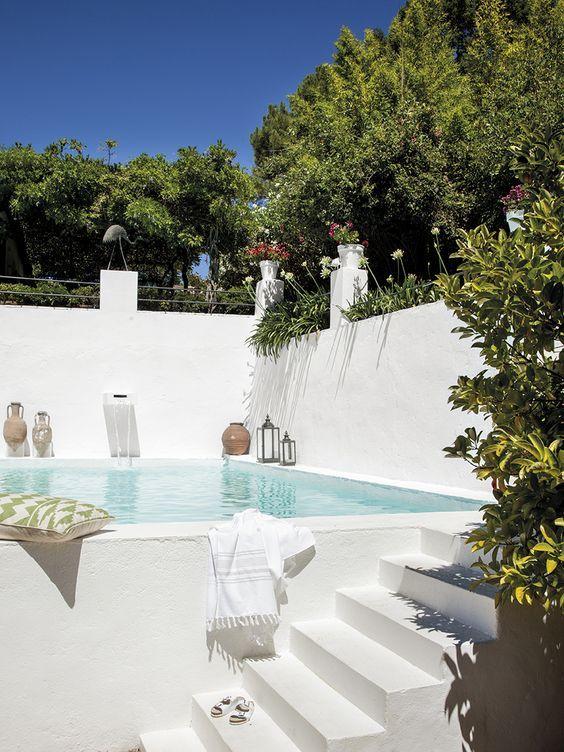 all white pool deck ideas