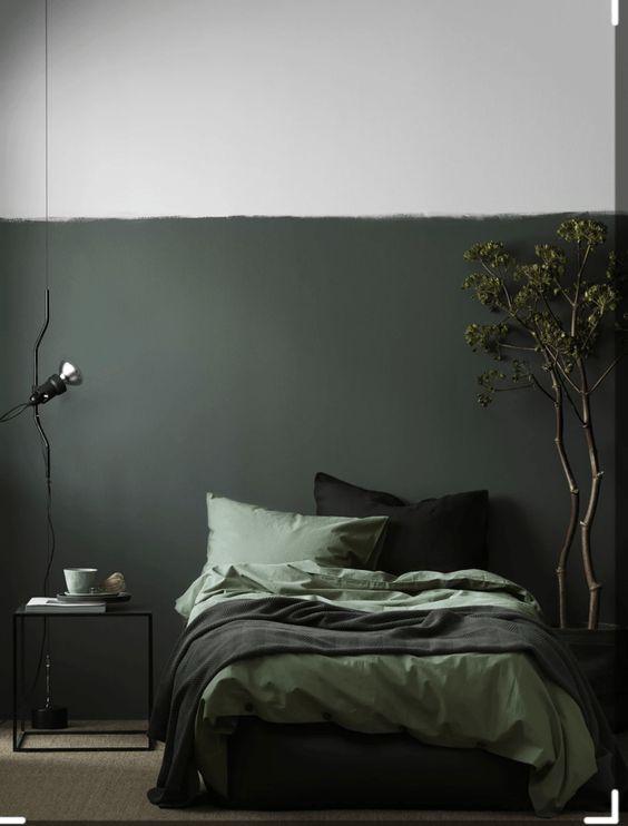 blackish green bedroom colour