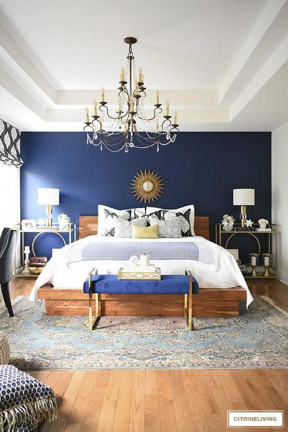 boho glam blue bedroom