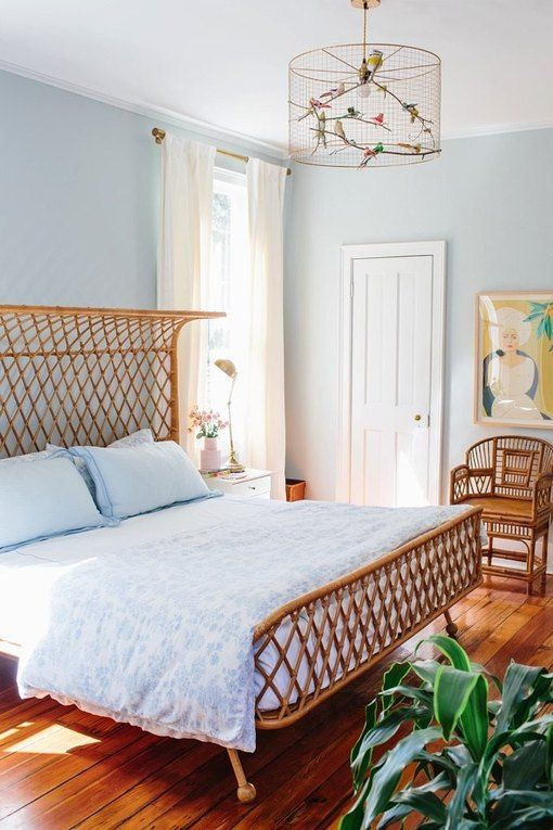 cane and blue bedroom