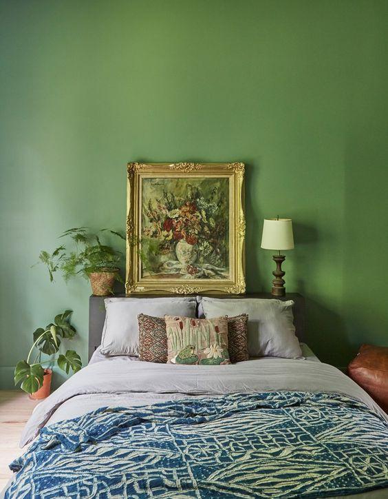 eclectic green bedroom