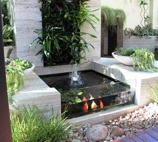 glass wall backyard ponds