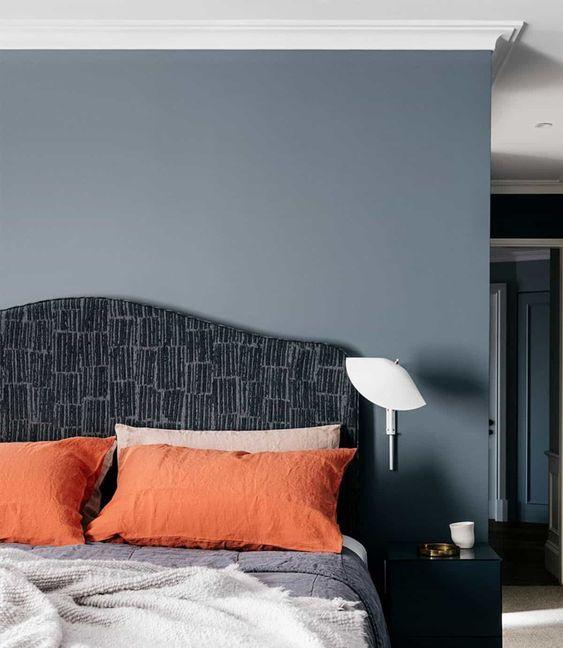 grey blue and pops of orange