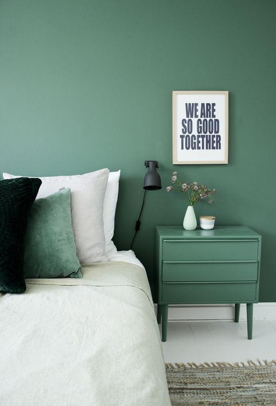 grey green bedroom