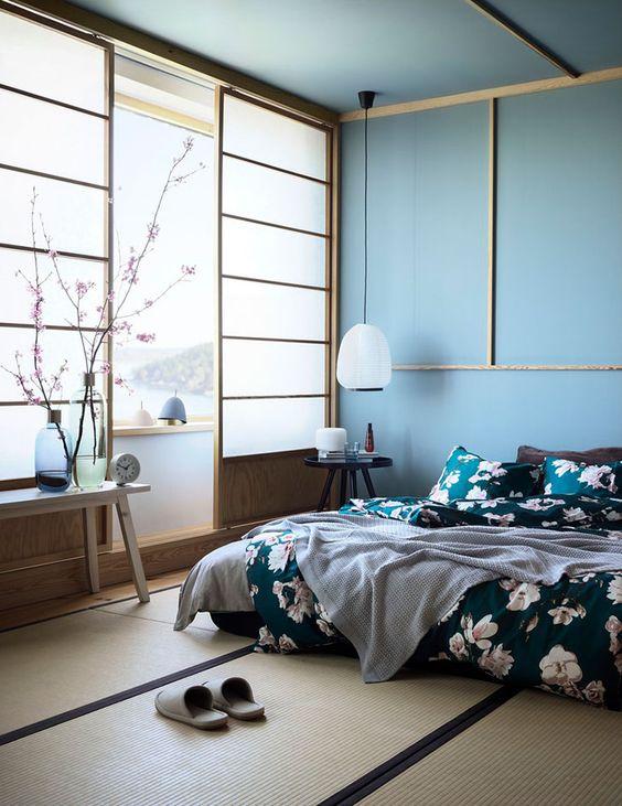 japanese style blue bedroom
