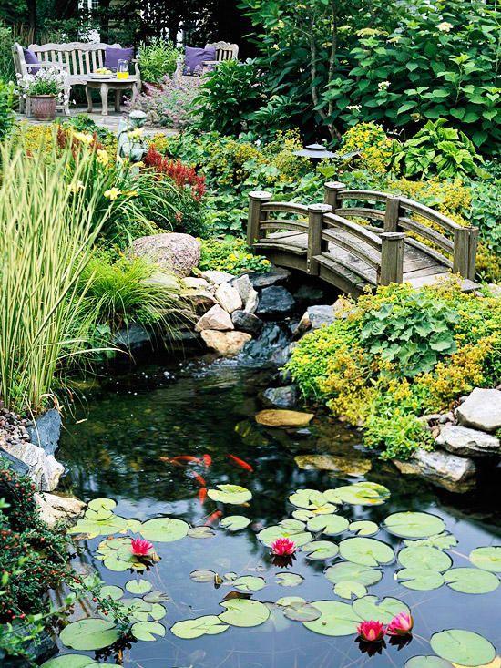 little bridge over backyard ponds