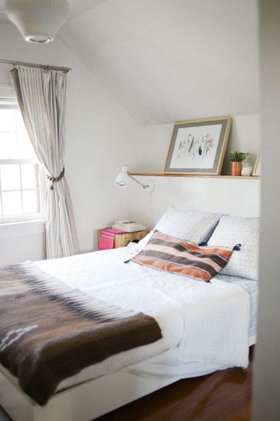 little white attic farmhouse bedroom