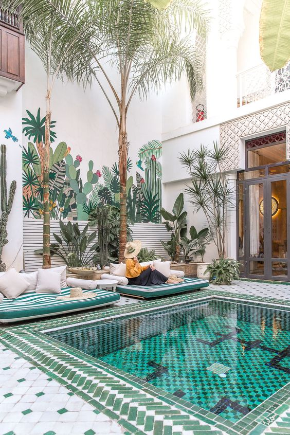 moroccan pool deck