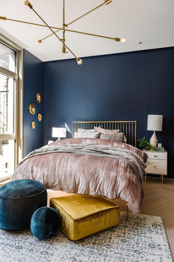 navy and gold tones
