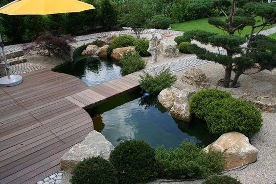 neatly landscaped backyard ponds