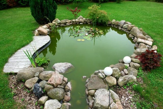 pond with small deck in border