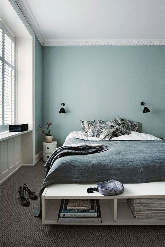 pops of white in a blue bedroom