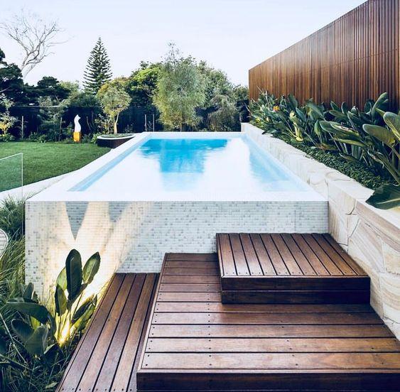rectangular above ground timber decking