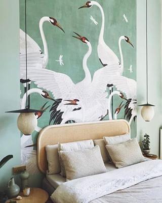 sage green mural