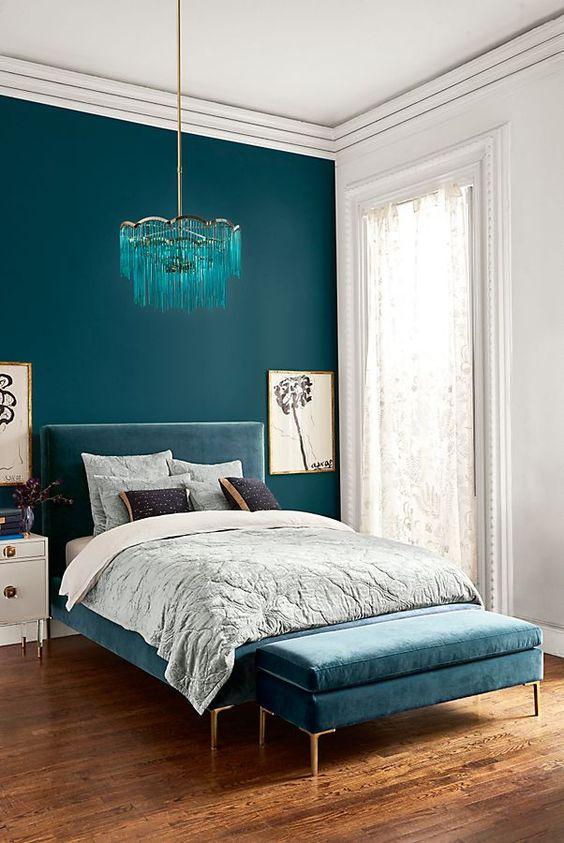 teal blue bedroom