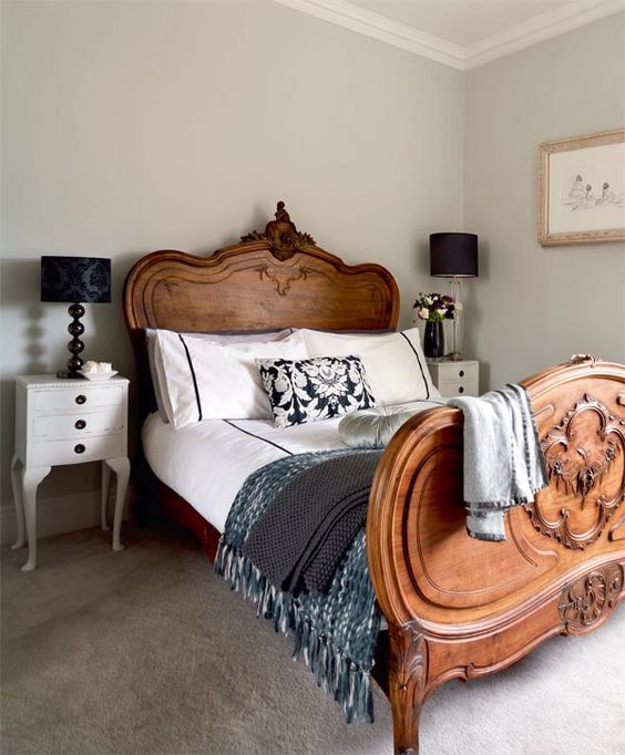 vintage style and throws in farmhouse bedroom