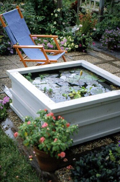 white wooden pond box